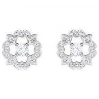 Ladies Swarovski Silver Plated Sparkling Dance Flower Stud Earrings