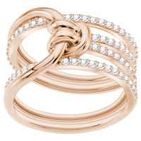 Ladies Swarovski Rose Gold Plated Lifelong Ring Size N