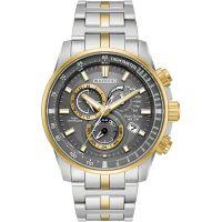 Herren Citizen Chrono Perpetual A-T Wecker Chronograf Eco-Drive Uhren