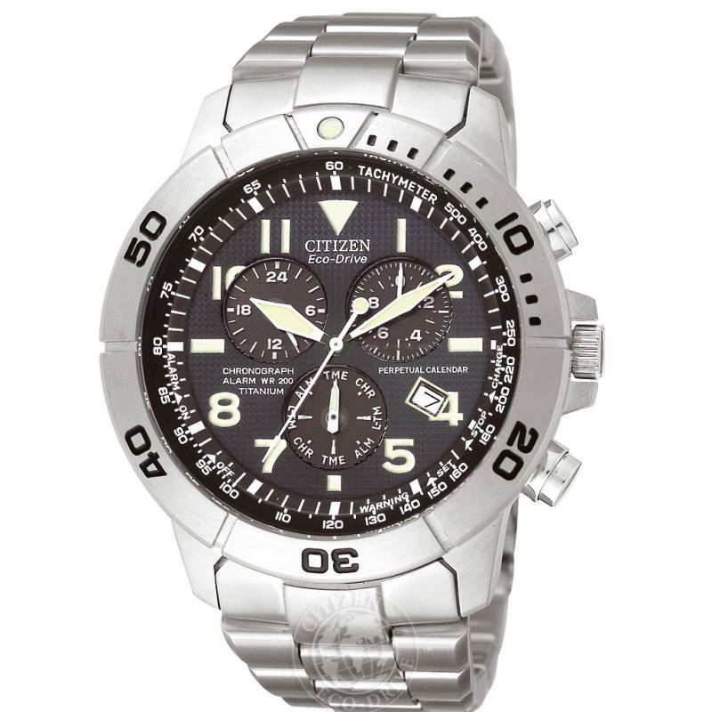 Mens Citizen Perpetual Calendar Titanium Alarm Chronograph Watch BL5250-53L