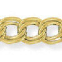 Double Curb Link Charm Bracelet with Padlock 7.25/18cm