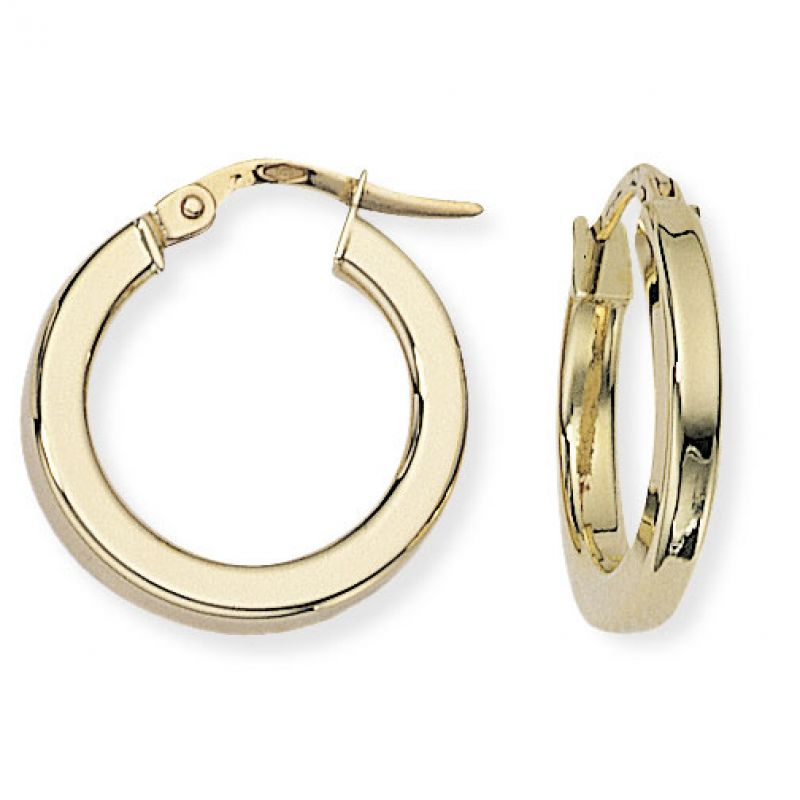 Square Tube Round Hoop Earrings