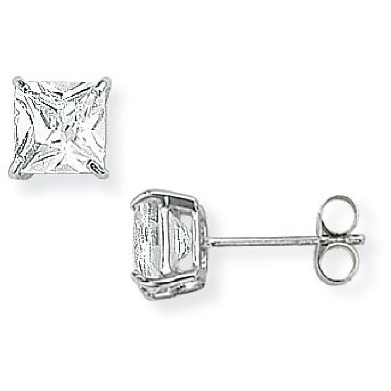 White Gold Claw-set Square 5mm Cubic Zirconia Stud Earrings