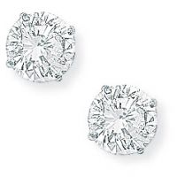 White Gold Claw-set 6mm Cubic Zirconia Stud Earrings
