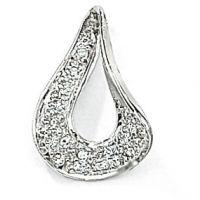 White Gold Diamond Tear Drop Pendant