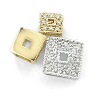 Weiß und Gelb Gold Diamant Würfel Anhänger