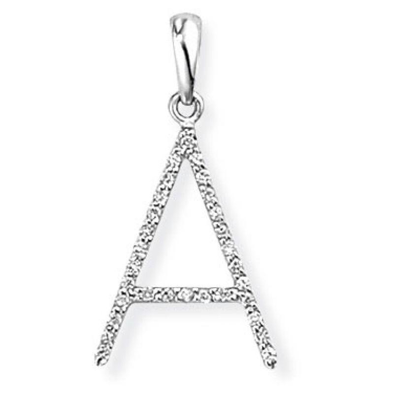 White Gold Diamond A Initial Pendant
