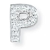 Weißgold Diamant P Initiale Anhänger