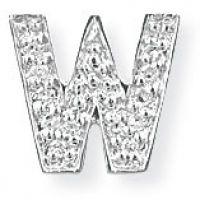 White Gold Diamond W Initial Pendant