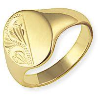 halb eingraviert Oxford Signet Ring Größe T