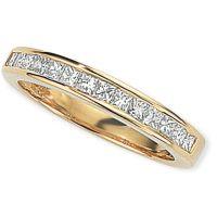 0.50ct tw VS Prinzessinnenschliff Halbe-Ewigkeit-Diamant Ring Größe M
