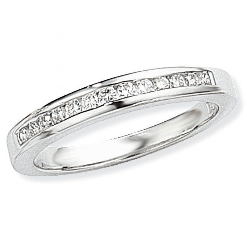 White Gold 0.25ct tw VS Brilliant-cut Half Eternity Diamond Ring Size N