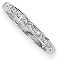Weißgold 0.15ct tw VS Prinzessinnenschliff Halbe-Ewigkeit-Diamant Ring Größe L