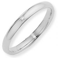 White Gold 3mm Essential Court-Shaped Band Size Q