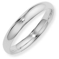 White Gold 4mm Essential Court-Shaped Band Size Q