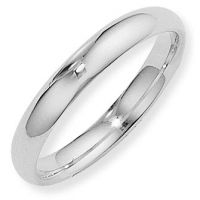 White Gold 4mm Essential Court-Shaped Band Size T