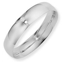 White Gold 5mm Essential Court-Shaped Band Size R