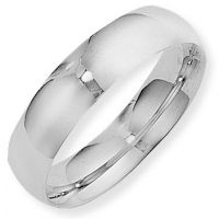 White Gold 6mm Essential Court-Shaped Band Size M