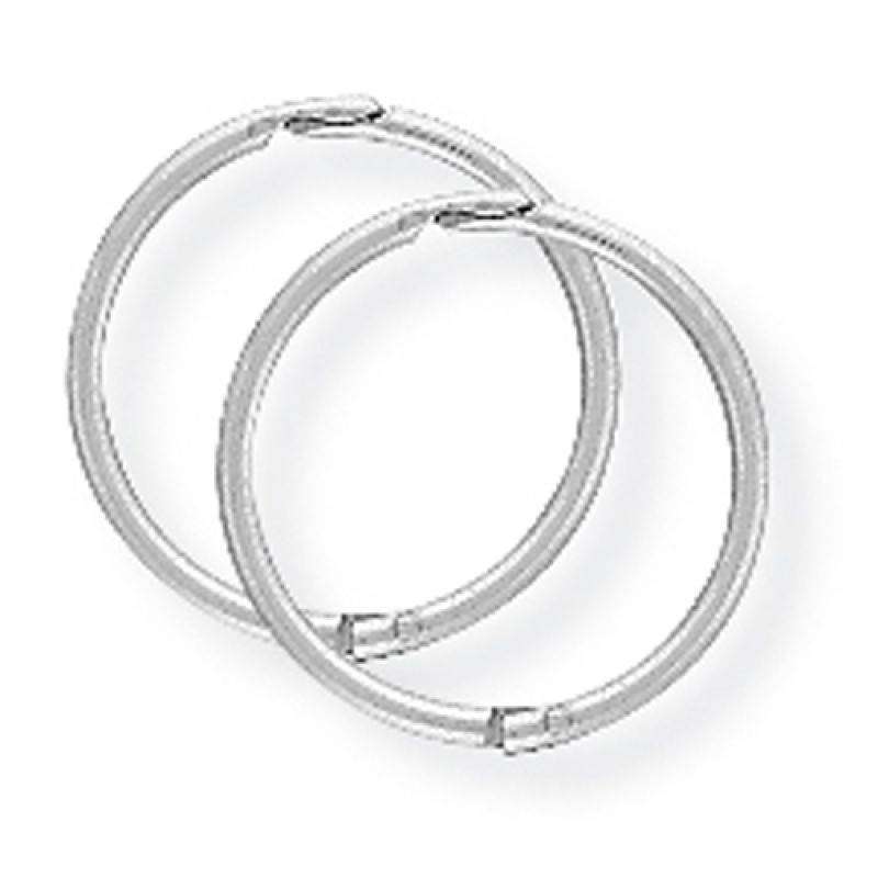 White Gold 12mm Thick Hinged Sleeper Earrings