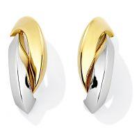 Weiß und Gelb Gold Stud Ohrringe
