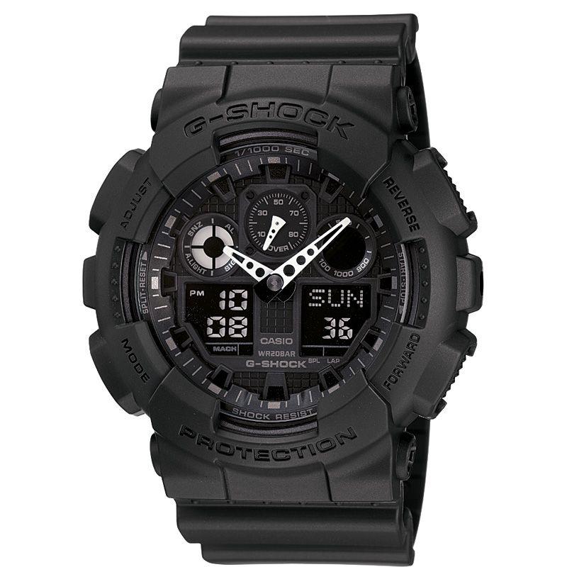 homme Casio G-Shock Alarm Chronograph Watch GA-100-1A1ER