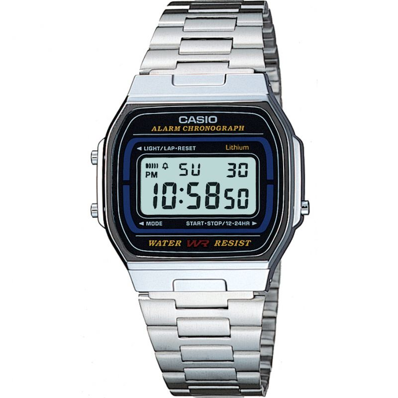 Casio Classic Unisexchronograaf Zilver A164WA-1VES