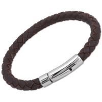 Unique Unisex Darkbrown Leather Bracelet Roestvrijstaal A40DB/21CM