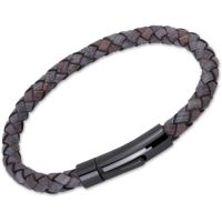 Unique Unisex Antique Black Leather Bracelet Svart jonpläterat stål B61ABL/21CM