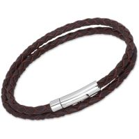 Unique Unisex Dark Brown Leather Bracelet Roestvrijstaal B62DB/21CM