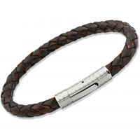 Unique Unisex Antique Dark Brown Leather Bracelet Roestvrijstaal B70ADB/21CM