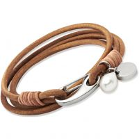 Ladies Unique Stainless Steel Natural Leather Bracelet B67NA/19CM