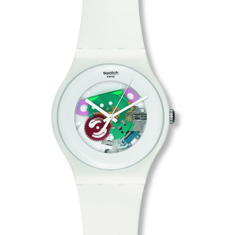 Unisex Swatch White Lacquered Watch SUOW100