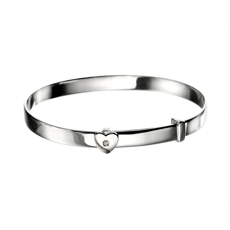 Childrens D For Diamond Sterling Silver Heart Baby Bangle B773