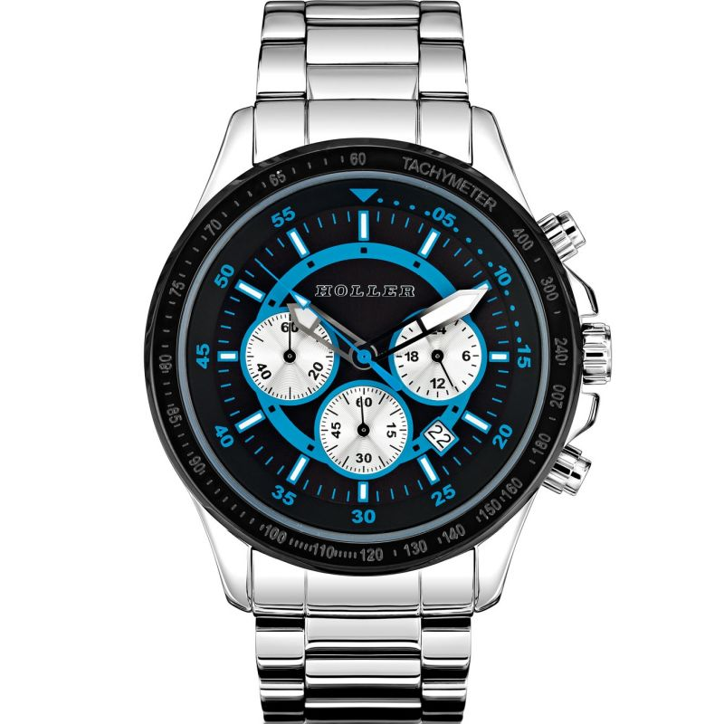 Mens Holler Invictus Black/Blue Chronograph Watch HLW2193-6
