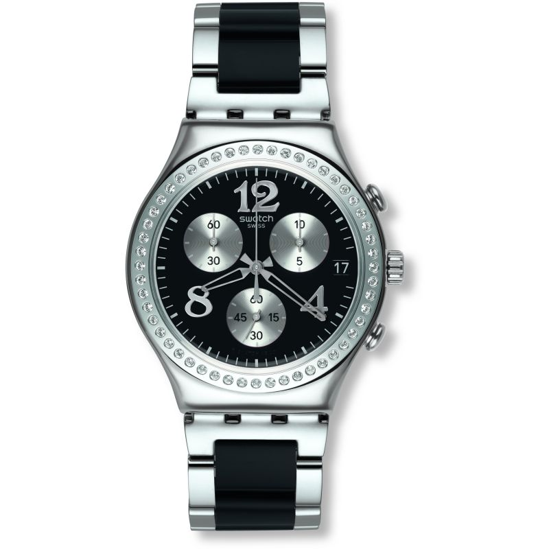 Ladies Swatch Secret Thought Black Chronograph Watch YCS551G