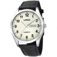 Herren Lorus Lumibrite Dial Leder Armband Uhr