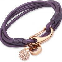 Ladies Unique PVD rose plating Berry Leather Bracelet 19cm B153BE/19CM