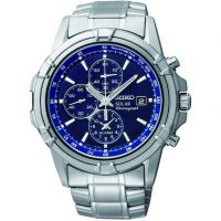 Mens Seiko Alarm Chronograph Solar Powered Watch SSC141P1