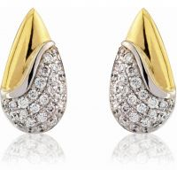 White and Yellow Gold Diamond Teardrop Earrings