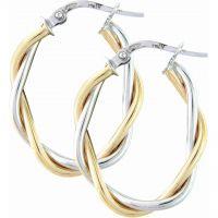 Weiß und Gelb Gold Oval Kreolen Ohrringe