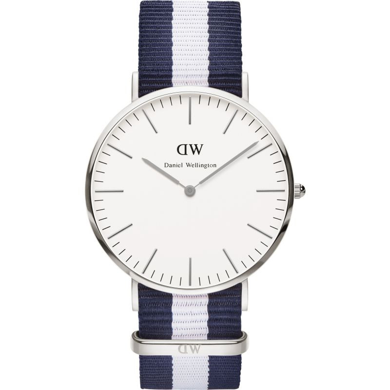 Mens Daniel Wellington Glasgow Silver 40mm Watch DW00100018