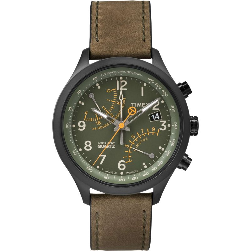 Mens Timex Indiglo Intelligent Quartz Chronograph Watch T2P381
