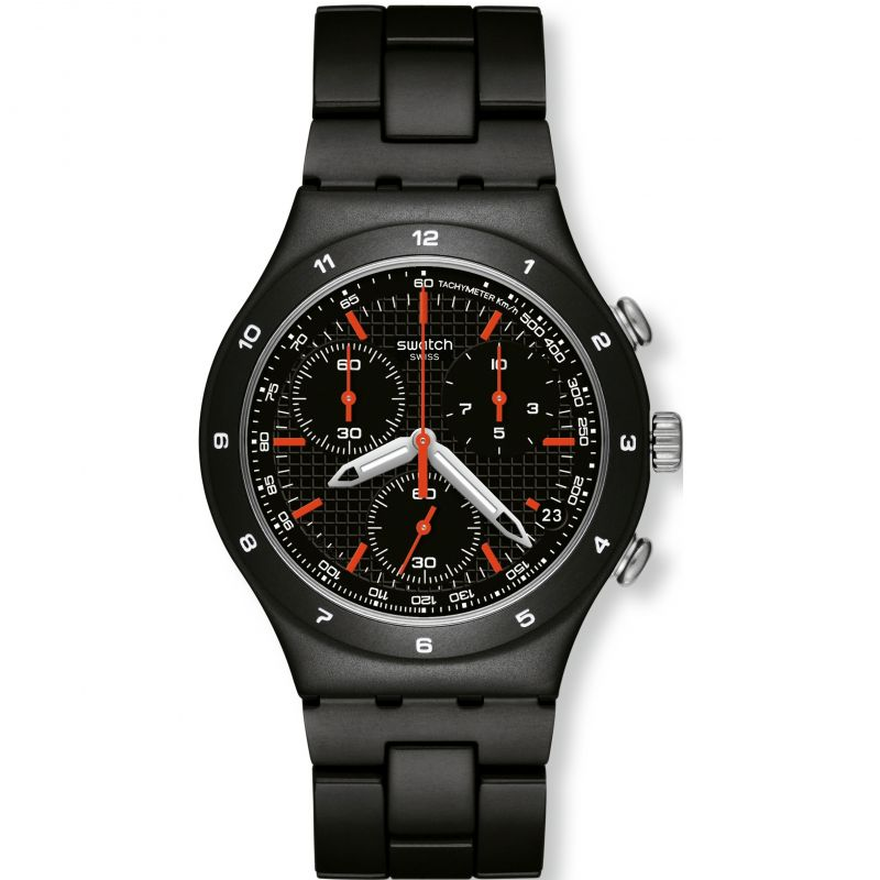 Herren Swatch Black Coat Chronograph Watch YCB4019AG
