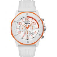 Mens Bulova Marine Star Duramic White Chronograph Watch