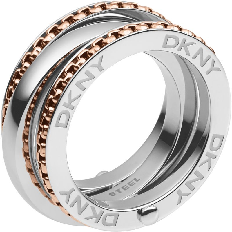Ladies DKNY Two-tone steel/gold plate Size M.5 Textural Basics Ring NJ2079931505
