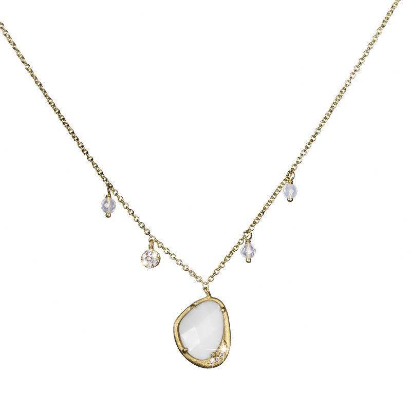 Ladies Shimla PVD Gold plated Necklace With White Agate and Cz SH624
