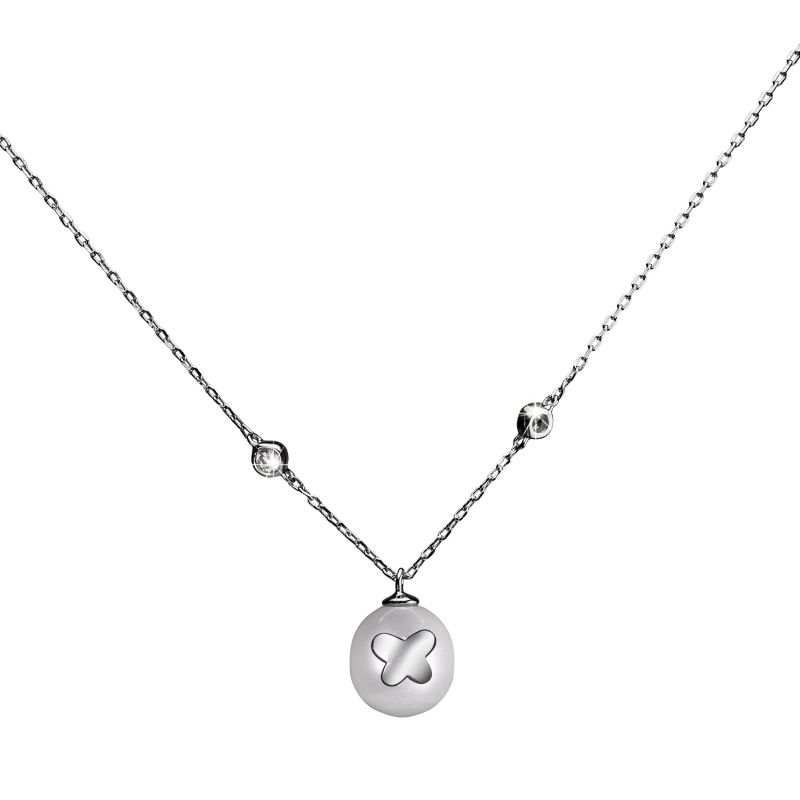 Ladies Shimla Stainless Steel Necklace With Butterfly Fresh Water Pearl SH630