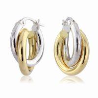 Weiß und Gelb Gold Kreolen Ohrringe