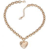 Damen Guess Rose vergoldet glänzend Herzen Pave Halskette