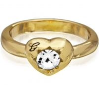 Damen Guess PVD Gold überzogen Größe N Kristalle Of Love Ring 54